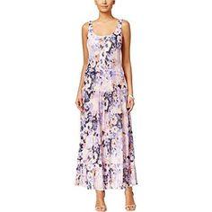 Nine West Women's Tiered Floral-Print Maxi Dress (Grape Mist Multi, White Maxi Dresses, Size 16 Dresses, Cheap Dresses, Nice Dresses, Casual Dresses, White Dress, Floral Print Maxi Dress, Daytime Dresses, Floral Fashion