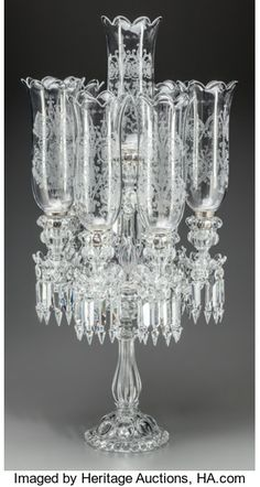 Decorative Arts, Continental:Lamps & Lighting, A Baccarat Etched Glass Seven-Light Candelabrum, century. inches high x 16 inches d. Antique Chandelier, Antique Lamps, Antique Lighting, Glass Chandelier, Chandelier Lighting, Glass Candelabra, Antique Furniture, Baccarat Crystal, Crystal Glassware