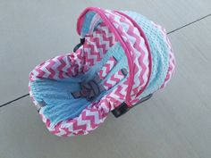 ON SALE Hot pink Chevron with aqua minky  Infant by BABYCOVERS2010