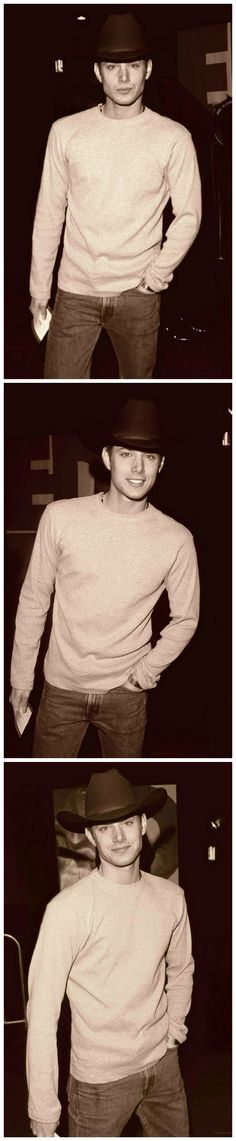 Jensen pulling off the cowboy look very well at the EDTV Premiere 1999