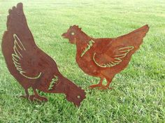 Rusty Metal Chickens / Hens...  These feathered friends looks fantastic in any garden boarder, and they promise not to dig up the plants!  This listing is for one of either of the two hens (see separate listing for the Rooster or the Spring chicks) The two chickens, cut from 2mm mild steel, can be pushed into the ground, using the 6cm stake attached to their legs.  The chickens measure over 25cm in height. Choose from head down or head up position.  Alternative listings for the Rooster a...