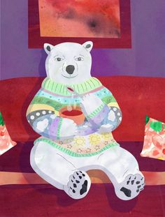 Illustration Friday  a polar bear eating a soup and watching tv