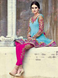♡ Stunning Salwar Kameez #pink #blue #gold #salwarkameez #desi #Bollywood #princess