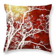 Burgundy Tree Art Throw Pillow For Sale By Christina Rollo