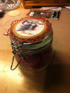 Candles with washitape in a jar with a christmas-label - a cute gift for christmas