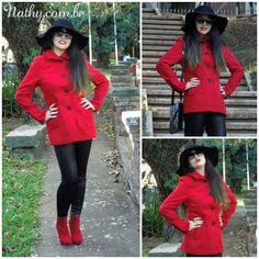 Look do dia com casaco vermelho! Espia no http://nathy.com.br #lookdodia