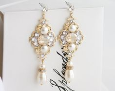 Champagne Earrings Golden Shadow Swarovski Crystal by lilicharms