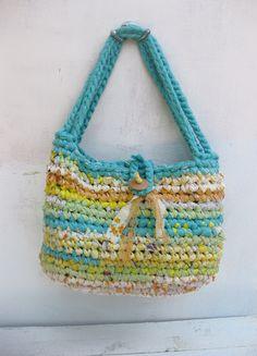 XL crocheted handbag ... Sea & Sun ... eco friendly  ... Fabric and plarn crocheted tote. $57.00, via Etsy.