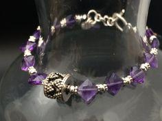 Natural Faceted Amethyst Bracelet Beaded by AngelWearDesigns2013