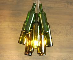 Upcycled Ombre Wine Bottle Chandelier by IndustrialBlush on Etsy, $275.00