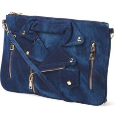 Blue like Moschino Denim Jacket Clutch/Bag The material is denim, the size detail is shown in the last photo.                                    ⚠️It is not auth Moschino brand, it's just Moschino style. But it's not a sham, it's a high street product which is called Joseph.                                       It has 2 pockets outside and 3 pockets inside, the bag is large enough to put iPad mini~             The one I will sell to you is new with original wrapped ~ Joseph D'arezzo Bags