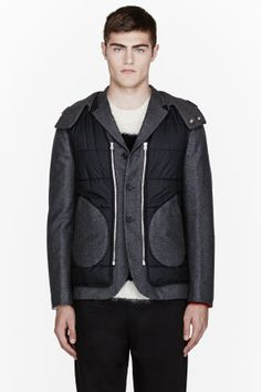 Marni Charcoal Grey Contrasting Vest Layered Jacket for men | SSENSE 1815