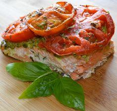 Mediterranean Recipe of Roasted Tomato Walnut Pesto Salmon