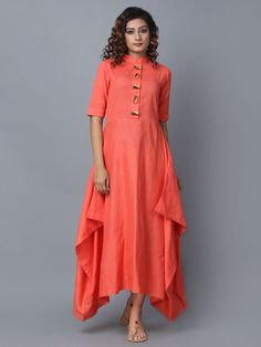 Buy Peach Cotton Linen Asymmetric Dress online at Theloom