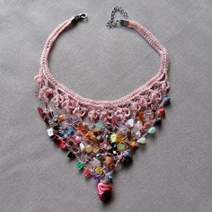 Light Pink Crochet Bib Necklace Beaded Jewellery by aniesjewelry