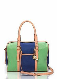 Tommy Hilfiger Green & Blue Satchel Handbag