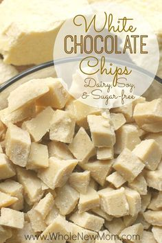 Do you love White Chocolate? Here's a Homemade White Chocolate Chips Recipe that is dairy free, sugar free, and soy free and super easy to make. A great allergy-friendly recipe that's great for baking, trail mixes, or snacking. Dairy Free Recipes, Low Carb Recipes, Snack Recipes, Gluten Free, Paleo Recipes, Dessert Recipes, Vegan White Chocolate, Dairy Free White Chocolate Chips, Chocolate Desserts