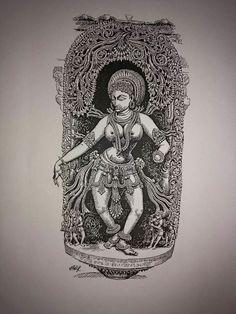 silpi halebedu Shiva Art, Hindu Art, Spiritual Paintings, Ink Pen Drawings, Indian Folk Art, Indian Art Paintings, Madhubani Painting, Pen Art, Art Sketchbook