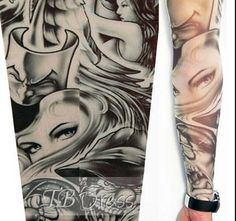 Beauty & Clown Tattoo Sleeve