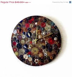 New Year Sale Rustic Wall Clock, Home and Living, Decor and Housewares, Unique Clock, Buttons Print, Up Cycled Art, Housewarming Gift on Etsy, $44.10