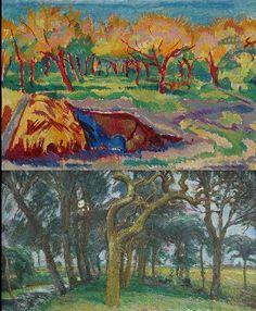 Zonnige boomgaard; verso: Bomen langs een weiland, wasverf op doek, Johan Dijkstra