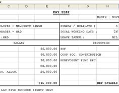 Salary Slip Format Excel Download