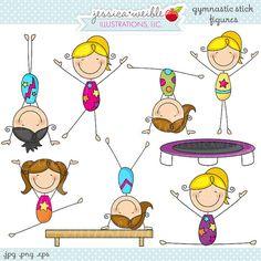 Gymnastics Stick Figures Cute Digital Clipart by JWIllustrations Doodle Drawings, Doodle Art, Easy Drawings, Doodle Kids, Poses Gimnásticas, Stick Figure Drawing, Stick Art, Gymnastics Girls, Gymnastics Cakes