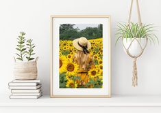 Girl Standing, Sunflower Fields, Printing Services, Printable Wall Art, Sunflowers, Tuscany, Vibrant, Wall Decor, Italy