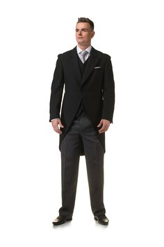 Black tailcoat suit with grey tie and pocket square - http://formallyyours.co.uk/  #wedding #suit #tailoring