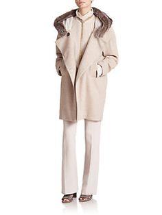 Brunello Cucinelli - Macro Melange Fur-Trimmed Hooded Cashmere Coat