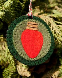 Red Christmas Light - Handmade Wool Felt Ornament