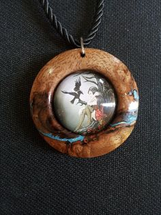 Girl and Raven with Resin in Curly Mango Wood + Free Shipping Worldwide ~ Girl and Raven Jewelry, Girl and Raven Penant by OurArtyCreations on Etsy