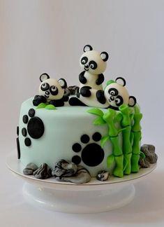 Birthday cake for panda lovers. Kung Fu Panda Cake, Panda Bear Cake, Bolo Panda, Panda Cakes, Bear Cakes, Panda Birthday Cake, Brithday Cake, Fondant Cakes, Cupcake Cakes