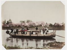 Pleasure barge on the Sumida River, Tokyo. Colourized photograph from the late 19th century. Courtesy of the Rijksmuseum.