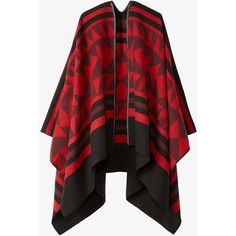 overblown geometric poncho ❤ liked on Polyvore featuring outerwear, red poncho and style poncho