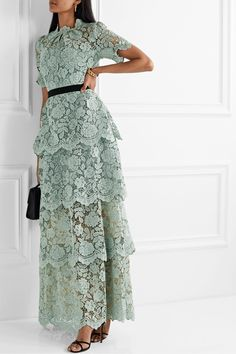 Self-Portrait Self Portrait Grosgrain-trimmed Tiered Corded Lace Maxi Dress - Mint , Lace Maxi, Lace Dress, Dress Up, Elegant Dresses, Beautiful Dresses, Casual Dresses, Modest Fashion, Fashion Dresses, Lace Weave