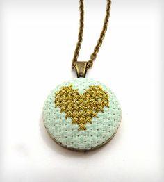 Cross Stitch Heart Necklace//