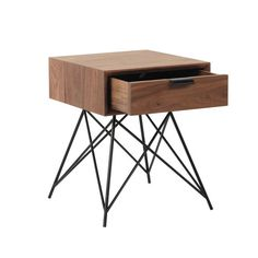 Solid walnut and metal bedside table with drawer W 37cm - Berkley