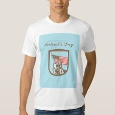 Patriots Day Greeting Card American Revolutionary Tshirts. Patriots Day greeting card featuring an illustration of an American revolutionary soldier military serviceman riding a horse holding USA stars and stripes flag set inside shield crest on isolated background done in retro style with the words Always Honour the Heroes on Patriot's Day. #illustration #PatriotsDayGreetingCardAmericanRevolutionary