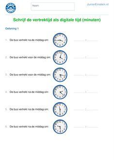Oefen het noteren van een analoge tijd als digitale tijd met dit werkblad. Op dit werkblad staat op de analoge klok een tijdstip. Schrijf achter elke klok op hoe je datzelfde tijdstip op de digitale klok ziet staan. Door hier veel mee te oefenen, word je beter in het aflezen van tijdstippen op zowel de analoge als de digitale klok. Tip: download ook de andere werkbladen en maak de online oefeningen! Creative Writing Ideas, Home Activities, Home Schooling, Math Classroom, Kids Learning, Sentences, Life, Montessori, Dutch