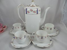 Nippon Chocolate Tea Set | Antique Hand Painted Nippon Chocolate Coffee Tea Set - Charming