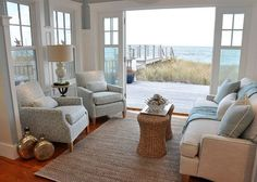 Coastal sitting room with ocean view Small Beach Cottages, Tiny Beach House, Beach House Tour, Dream Beach Houses, Beach Town, Cottages By The Sea, Beach House Rooms, Hamptons Beach Houses, Beach Hut Shed
