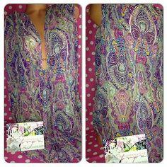 NEW M/L $69 Victoria's Secret pink paisley blouse tunic swim cover up shirt top