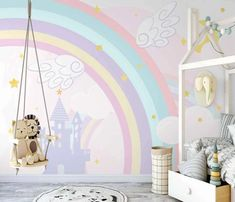 #rainbow #bedroom #kidswallart #kidswallpaper #removablewallpaper #kidsroomdecor #walldecor #customwallpaper #modernwallpaper Modern Wallpaper, Custom Wallpaper, Gold Yellow Wallpaper, Wings Wallpaper, Peel And Stick Vinyl, Wall Decor, Wall Art, Soft Colors, Blue Backgrounds