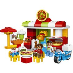 Play out real-life scenarios in LEGO® Duplo® My Town: a recognizable world with modern Duplo figures. Toddlers will love serving delicious pizza straight from the oven in this colorful restaurant, while learning the routines and etiquette of eating out. They can also take orders over the phone then load up the bike for delivery. Includes three Duplo figures.<br><br>The LEGO Duplo Town Pizzeria (10834) Features:<br><ul><li>Features a buildable pizz...