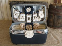 Vintage Suitcase Wedding Card Box Wedding Card Holder Wedding Decoration Navy Blue Linen Wedding Chevron