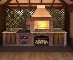 ideas exterior brick design fireplaces for 2019 Backyard Kitchen, Outdoor Kitchen Design, Backyard Patio, Barbeque Design, Grill Design, Parrilla Exterior, Outdoor Grill, Outdoor Barbeque Area, Brick Grill