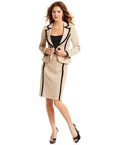 Xoxo Piped Blazer Pencil Skirt Juniors Black Suit Online