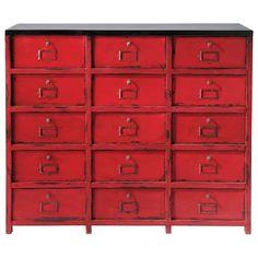 Cabinet de rangement en métal rouge L 115 cm
