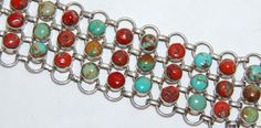 Vintage Sterling Silver Turquoise Red Coral by Savesitall on Etsy